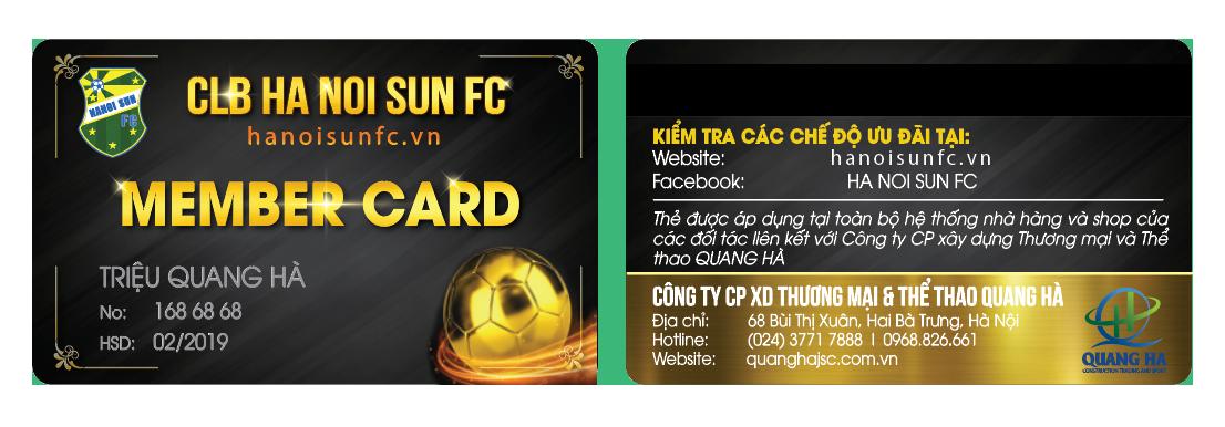 THẺ HỘI VIÊN CÂU LẠC BỘ BÓNG ĐÁ HÀ NỘI SUN FC